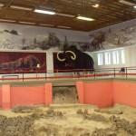 Внизу жилище из костей мамонта